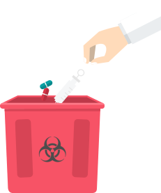 hands throwing medical supplies on a trash bin