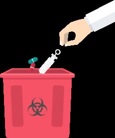 hands throwing medical supplies on a trash bin
